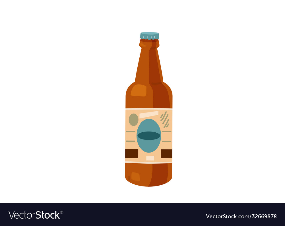 Delicious beer bottle with label isolated on white