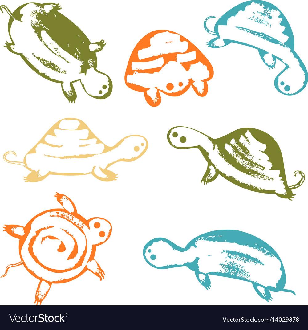Funky turtles icon set