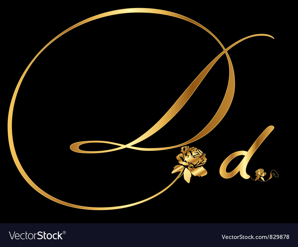 Gold letter D with roses Royalty Free Vector Image