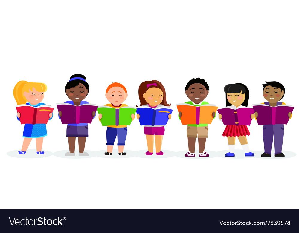 Group of Children Reading Books
