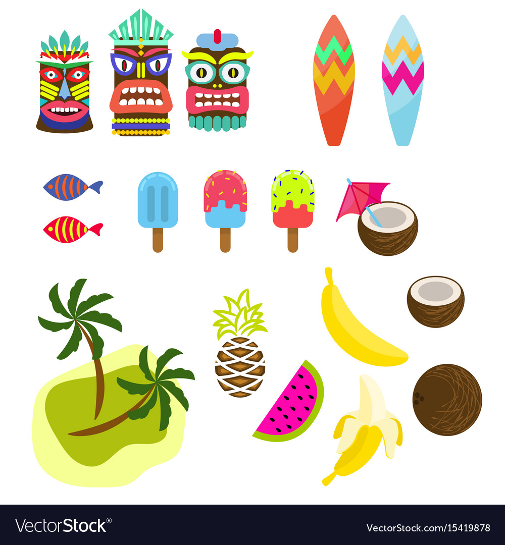 Hawaii tropic colorful clipart
