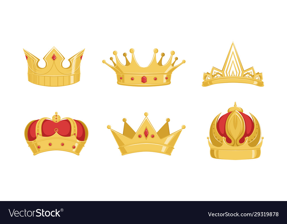 Royal golden crowns collection symbols power