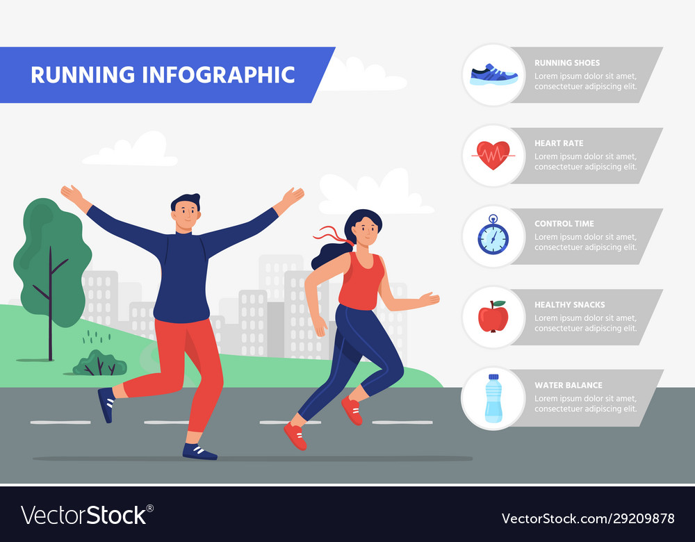 Run infographic outdoor aerobics fitness training