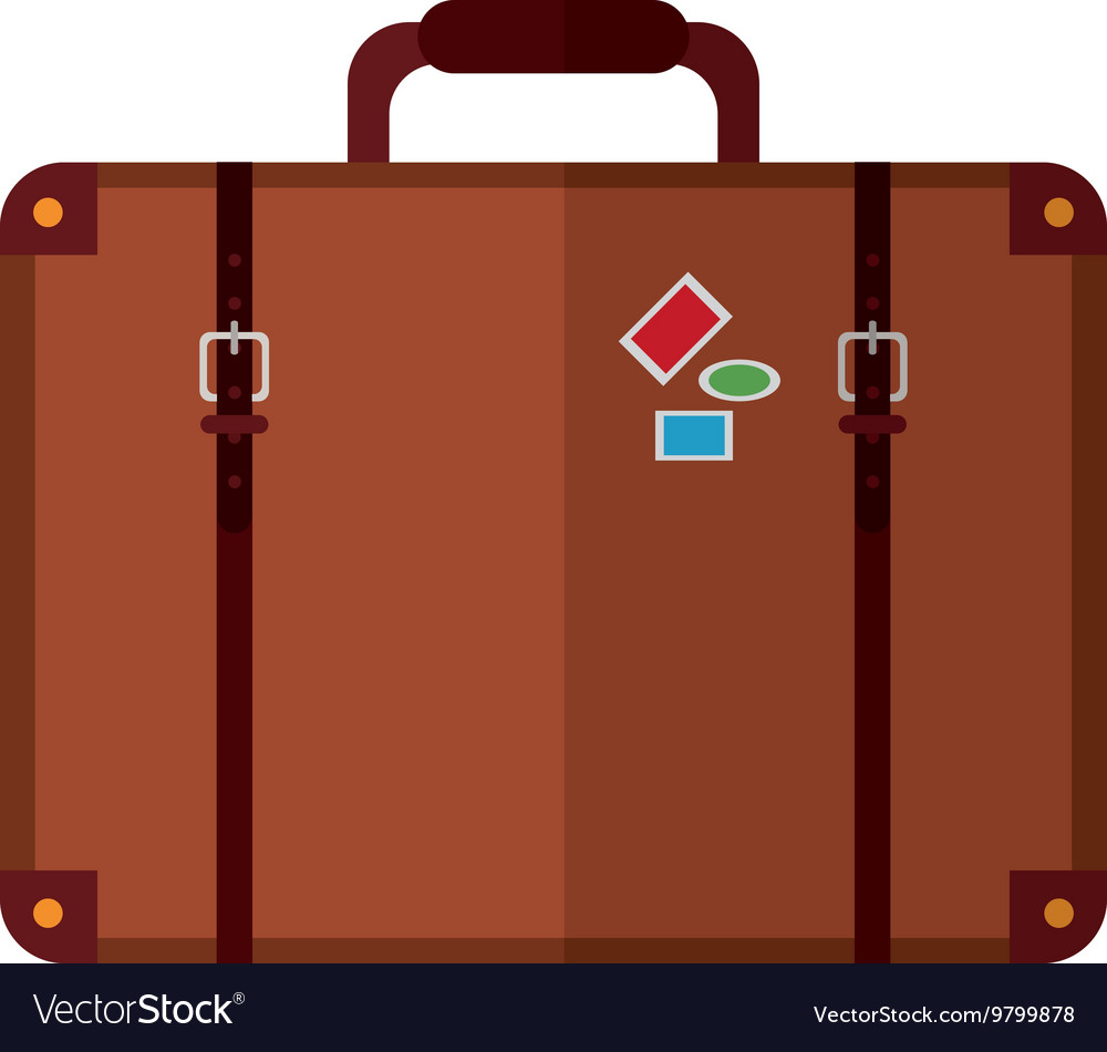 Suitcase with handle and stickers icon vector image