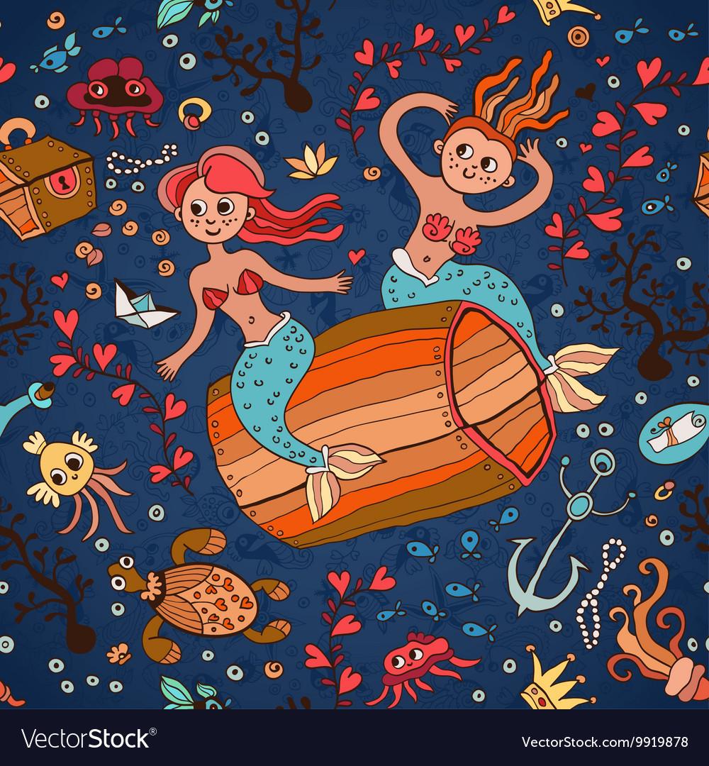 Underwater seamless pattern of sea life elements