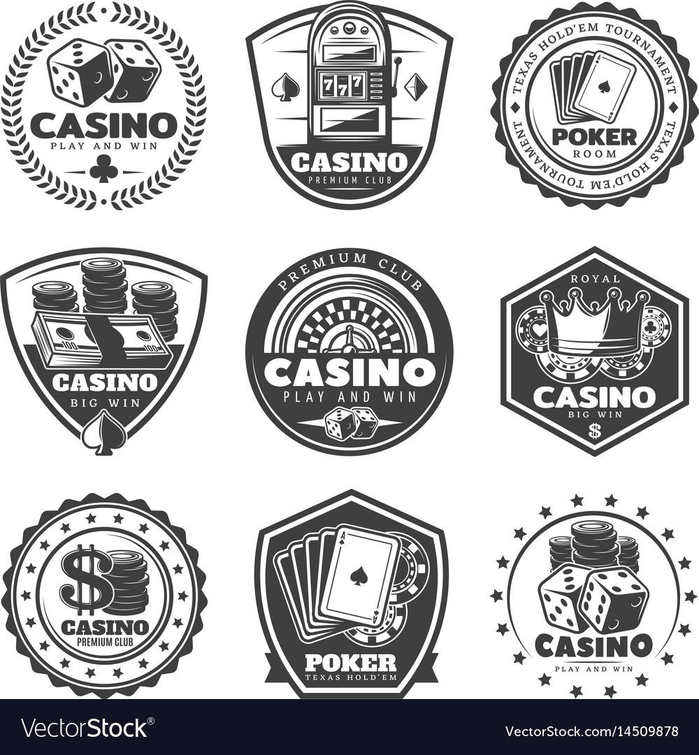 Vintage monochrome casino labels set