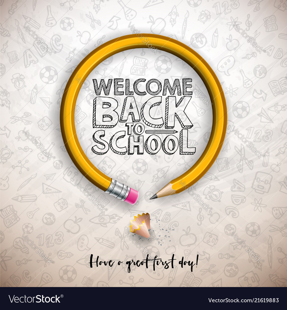 Back to school design with graphite pencil and