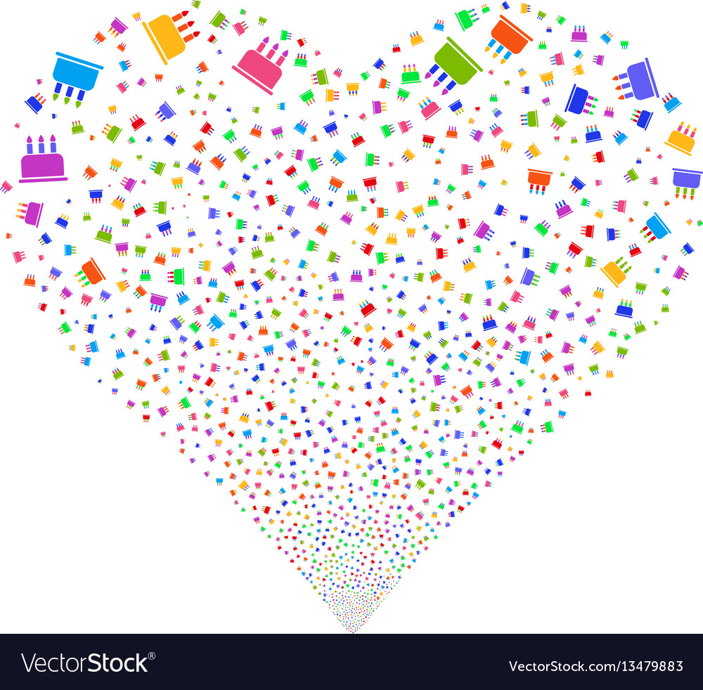 Astonishing Birthday Cake Fireworks Heart Royalty Free Vector Image Funny Birthday Cards Online Alyptdamsfinfo