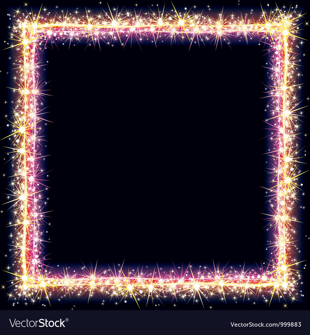 Bright Frame with Sparkles and Flares