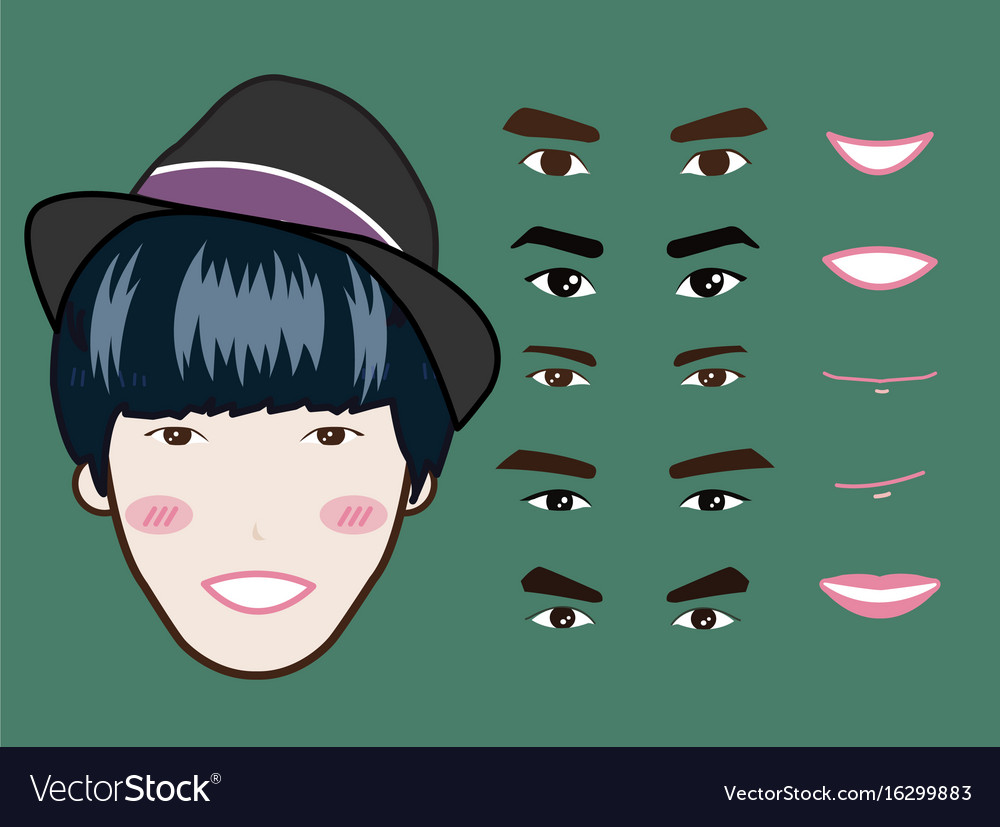 Cartoon character pack facial emotions design vector image