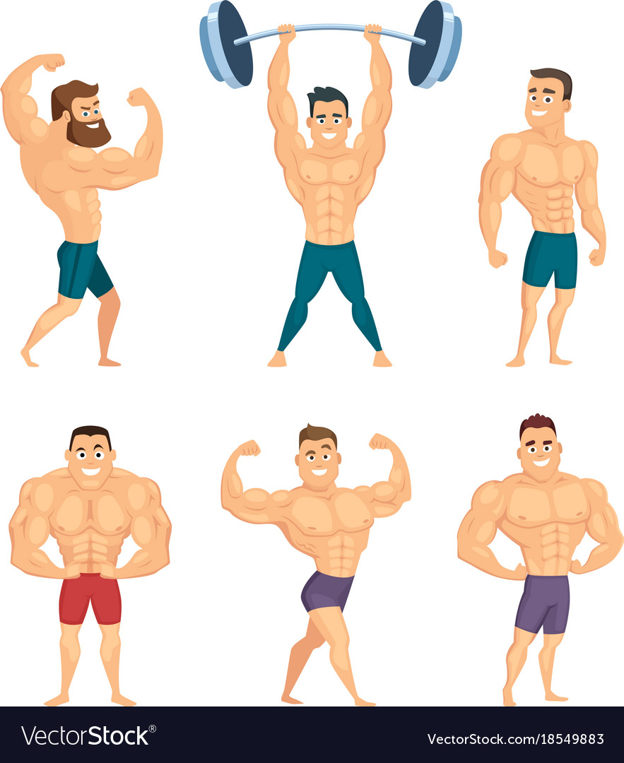 Cartoon characters of strong and muscular