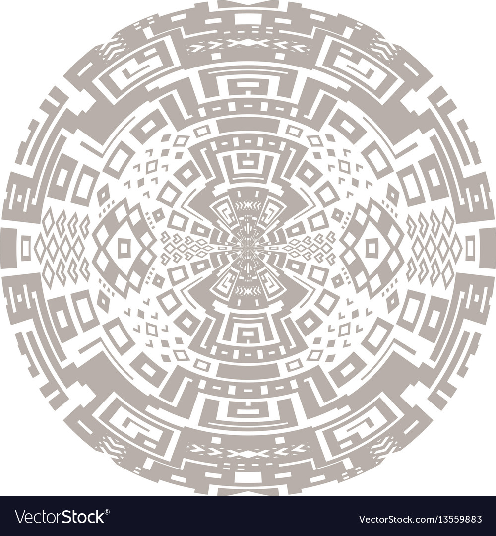 Circular decorative geometric ethnic pattern vector image