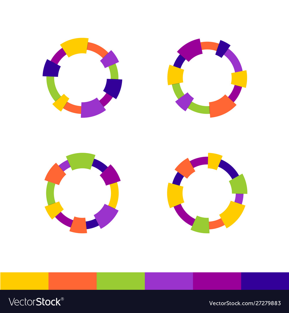 Colorful abstract round frames set technical or