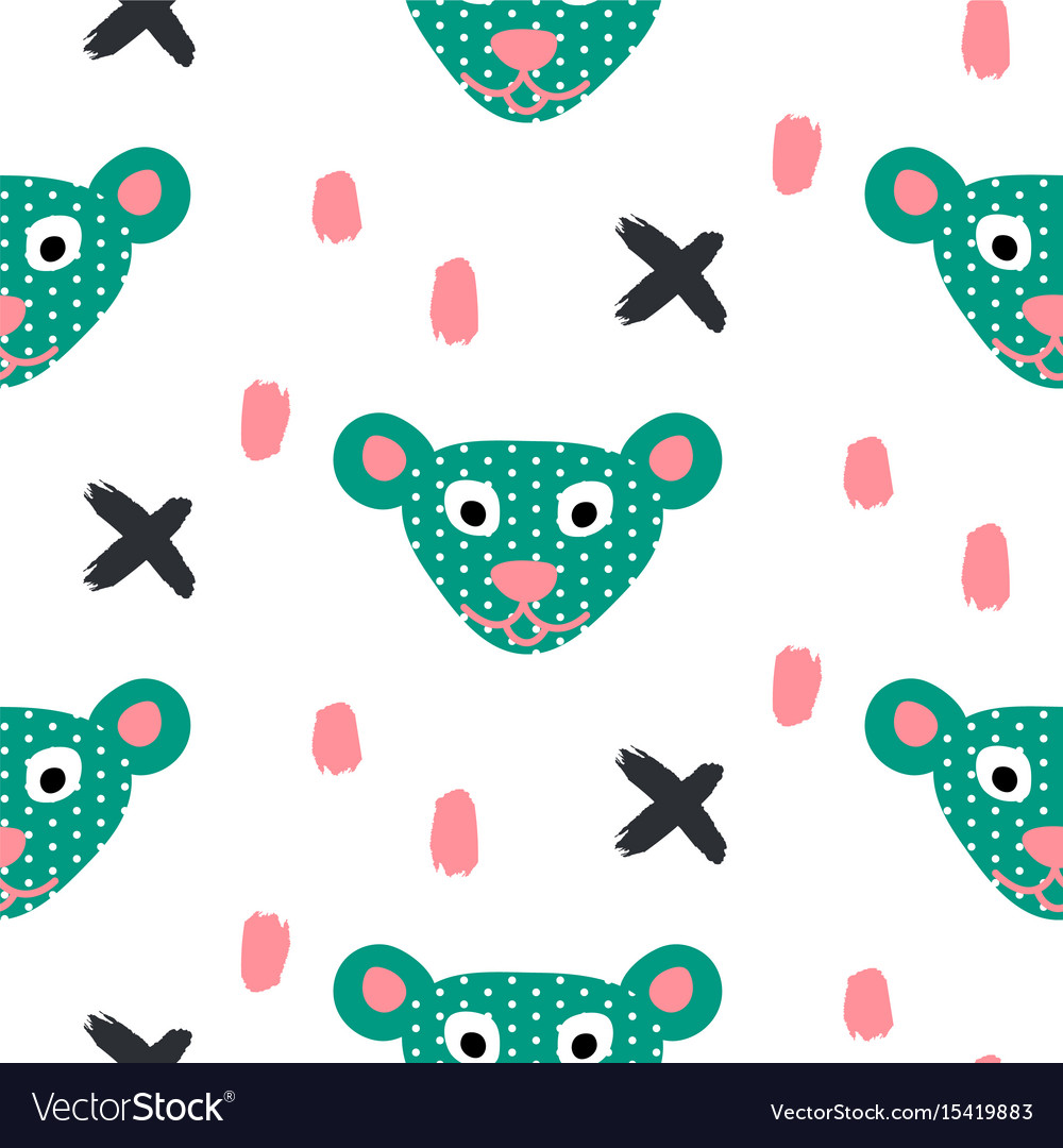 Cute bear green fun seamless pattern for kids and