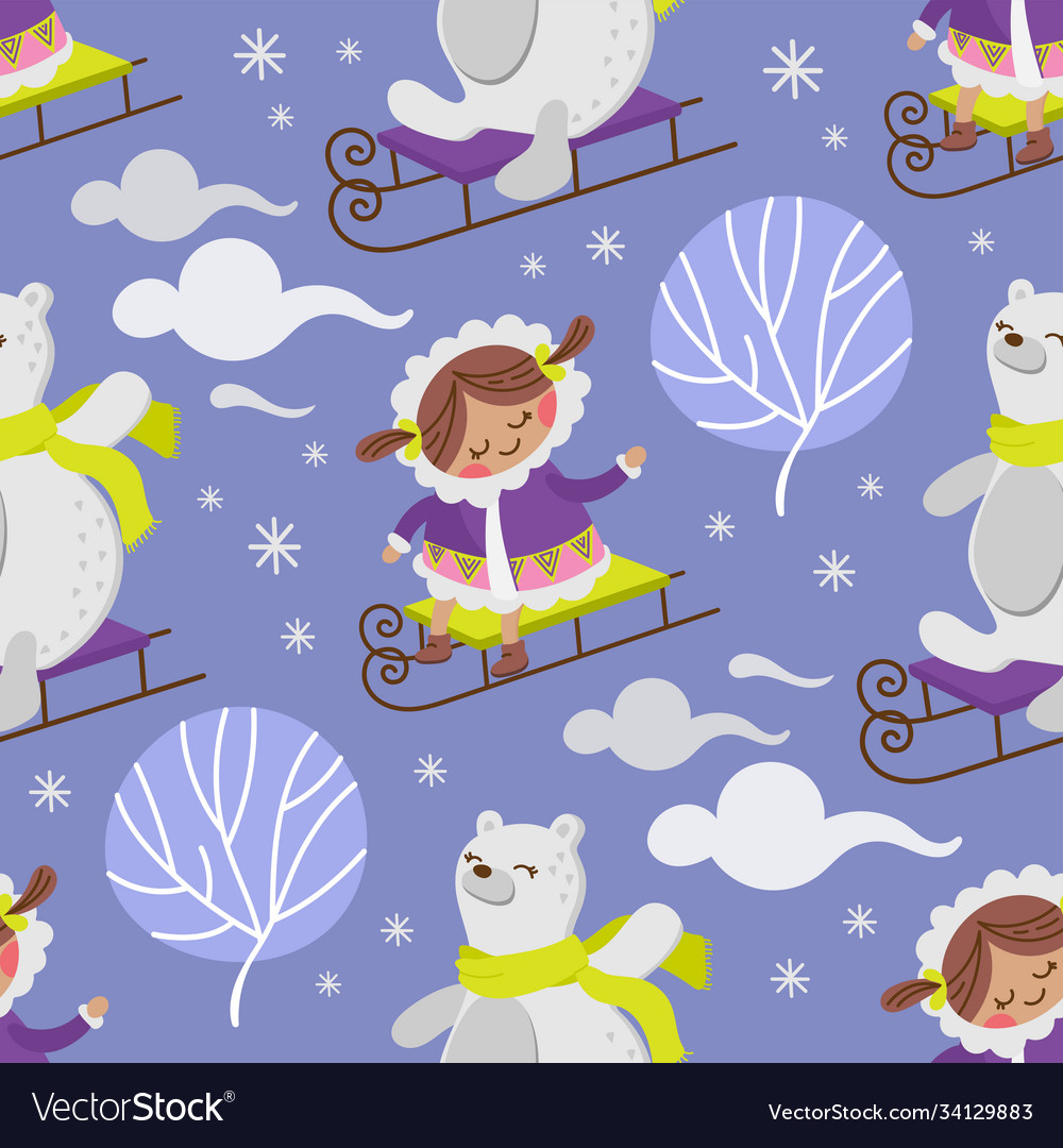 Eskimo girl bear winter seamless pattern