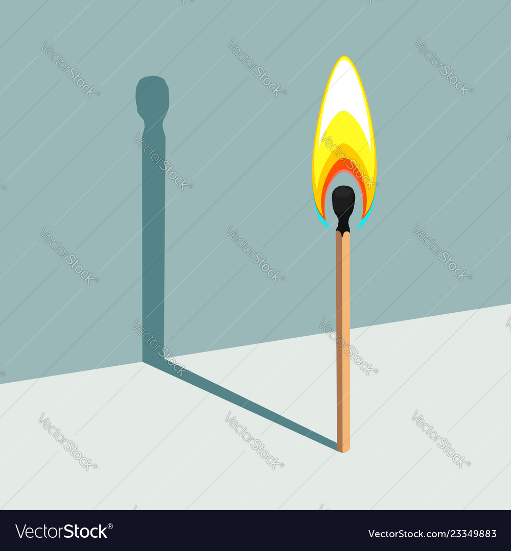 Flame has no shadow burning match and its shadow