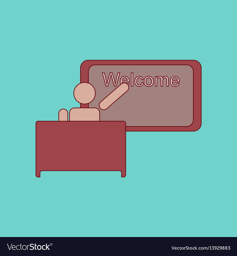 Flat icon thin lines table board teacher