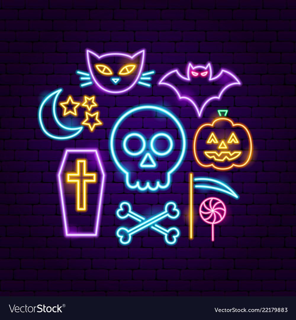 Happy halloween neon concept