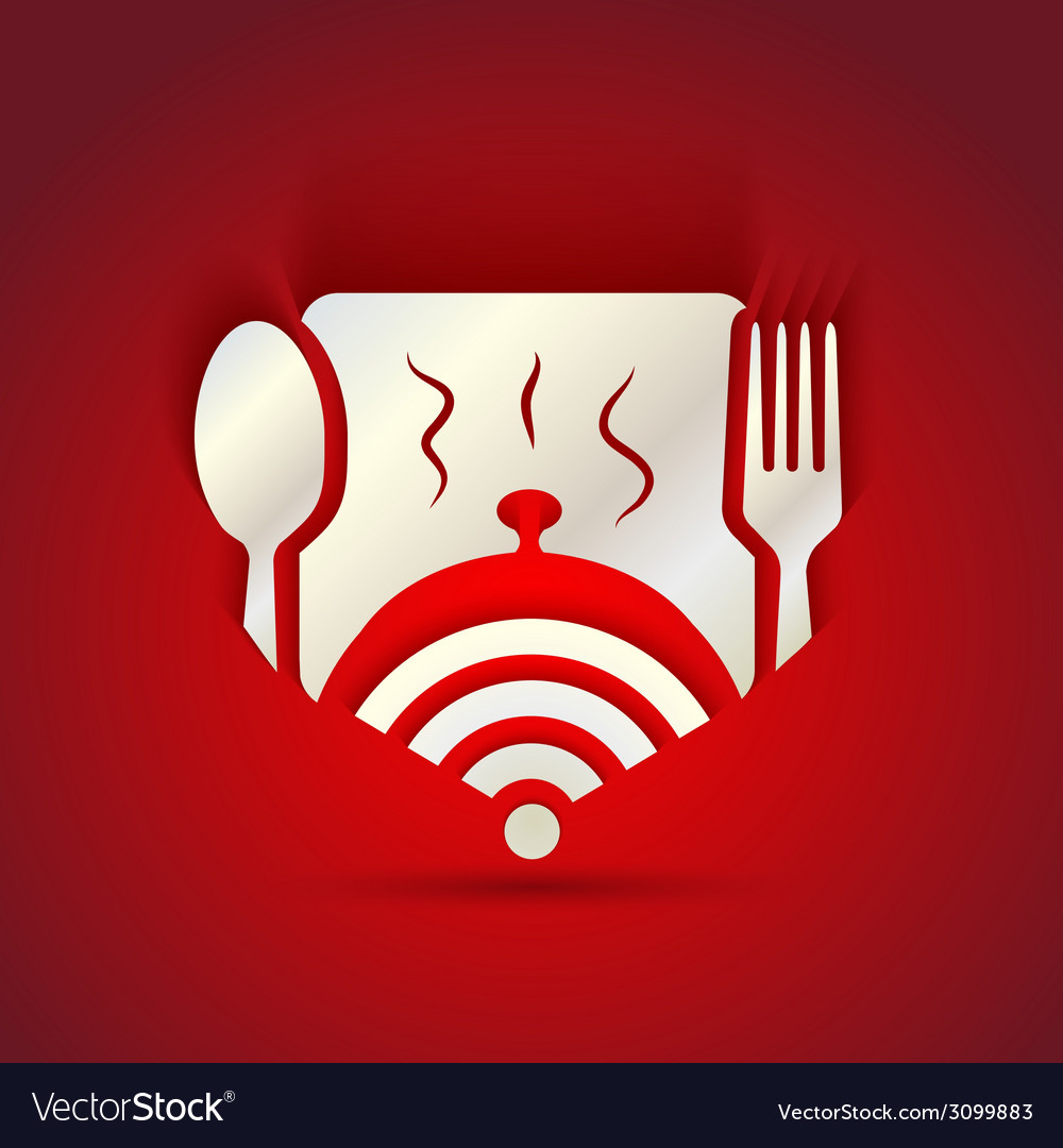 Icon concept for restaurant menu and free WiFi