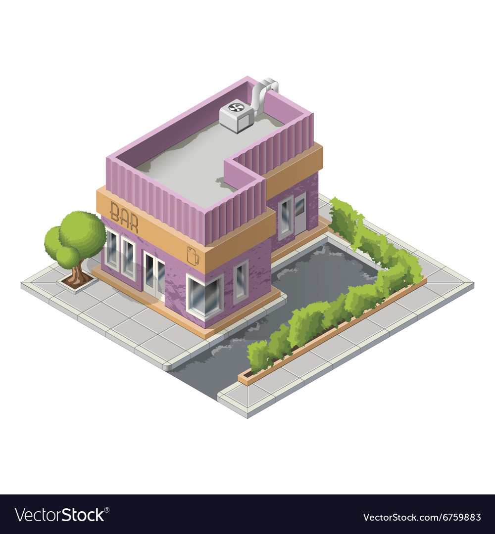 Isometric bar building icon