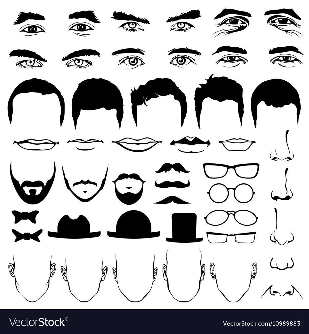 Man face eyes and noses mustaches with glasses