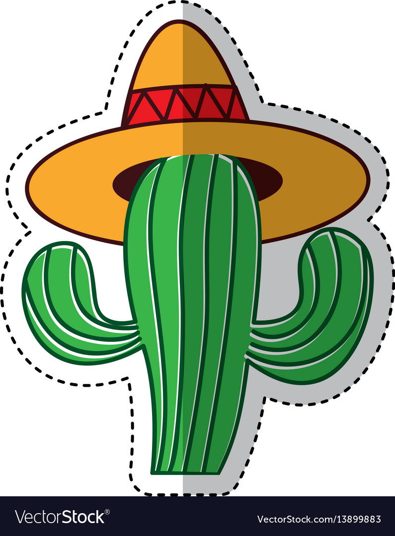 Cactus mexican. With hat isolated icon