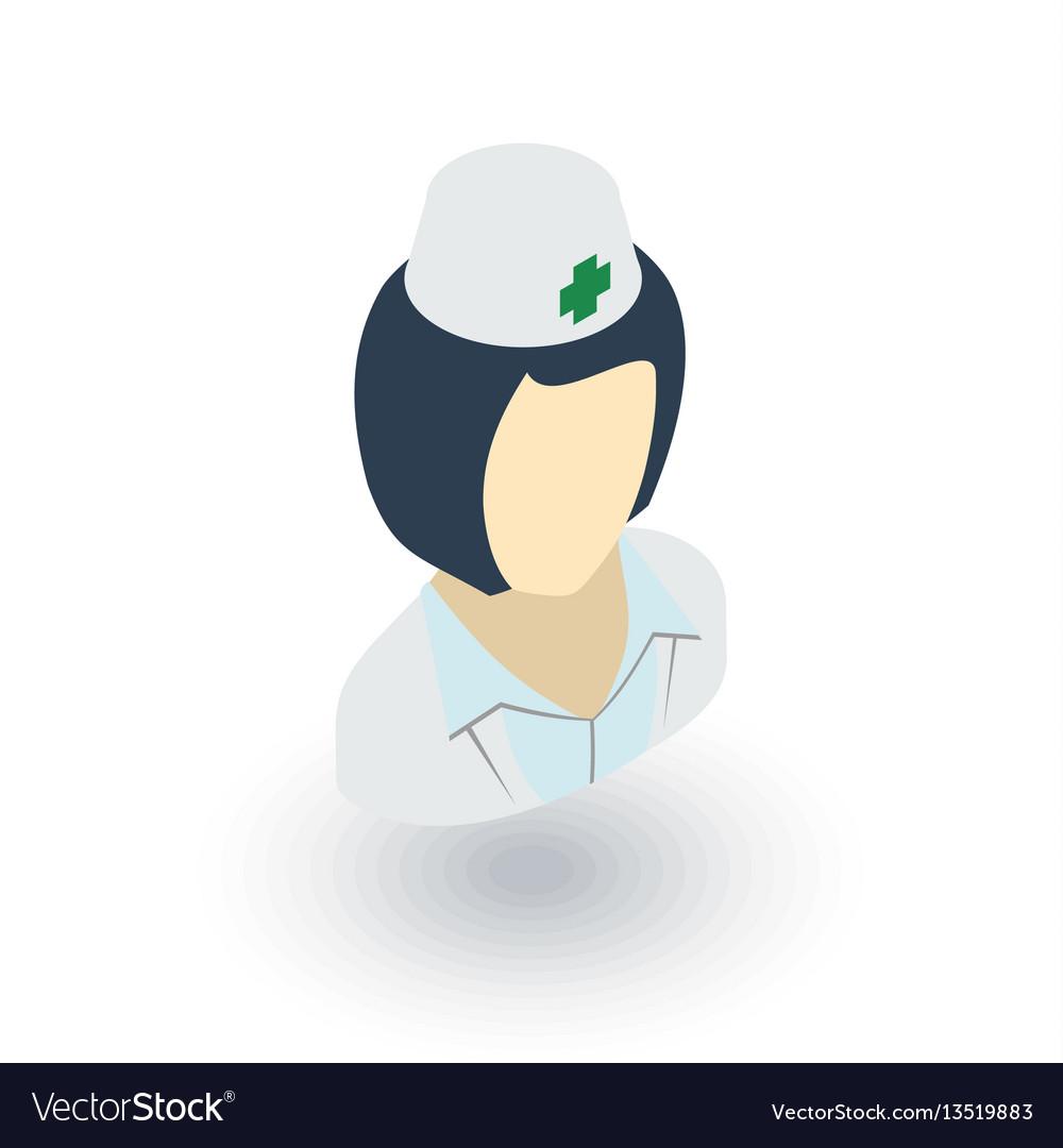 Nurse avatar doctor isometric flat icon 3d