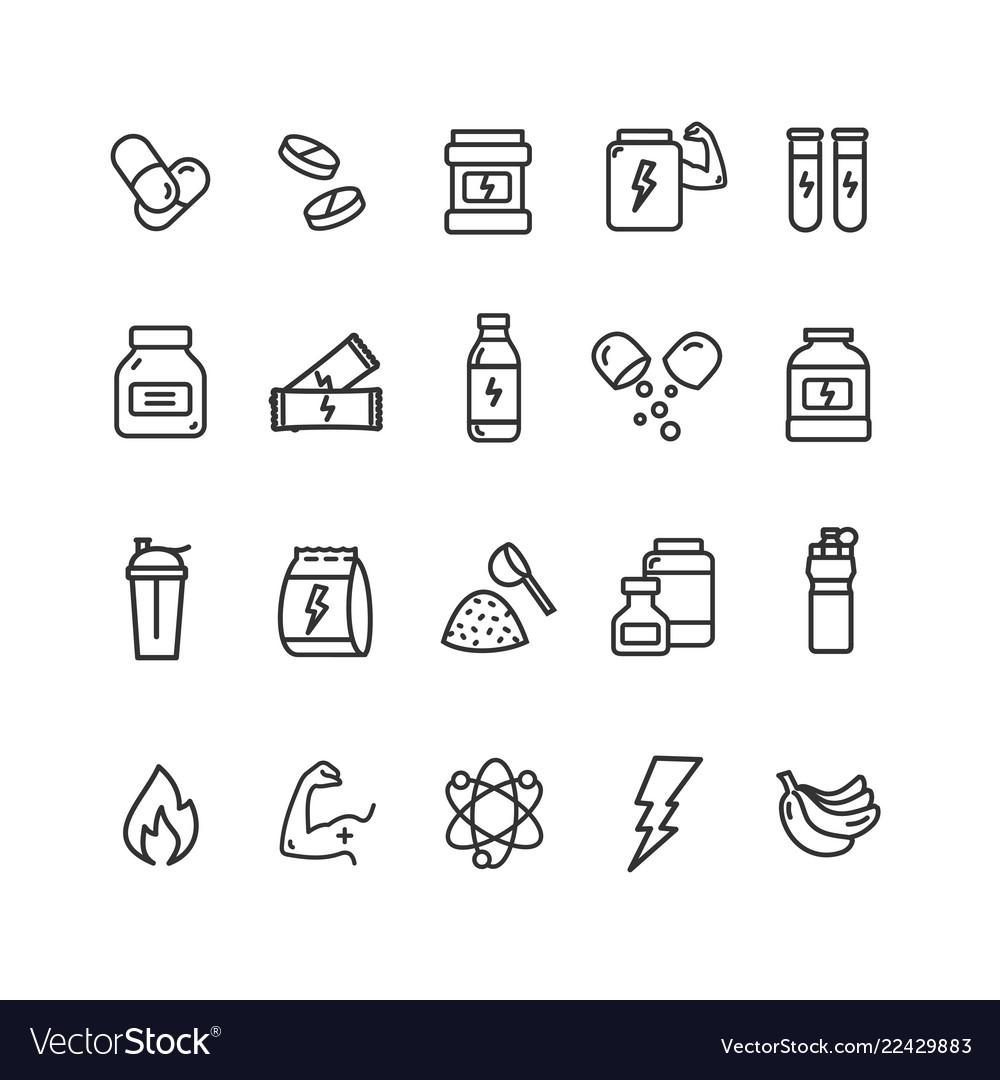 Nutrition signs black thin line icon set