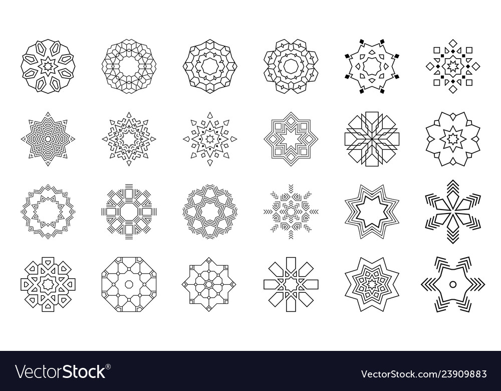 Set of abstract geometric symmetric center shapes