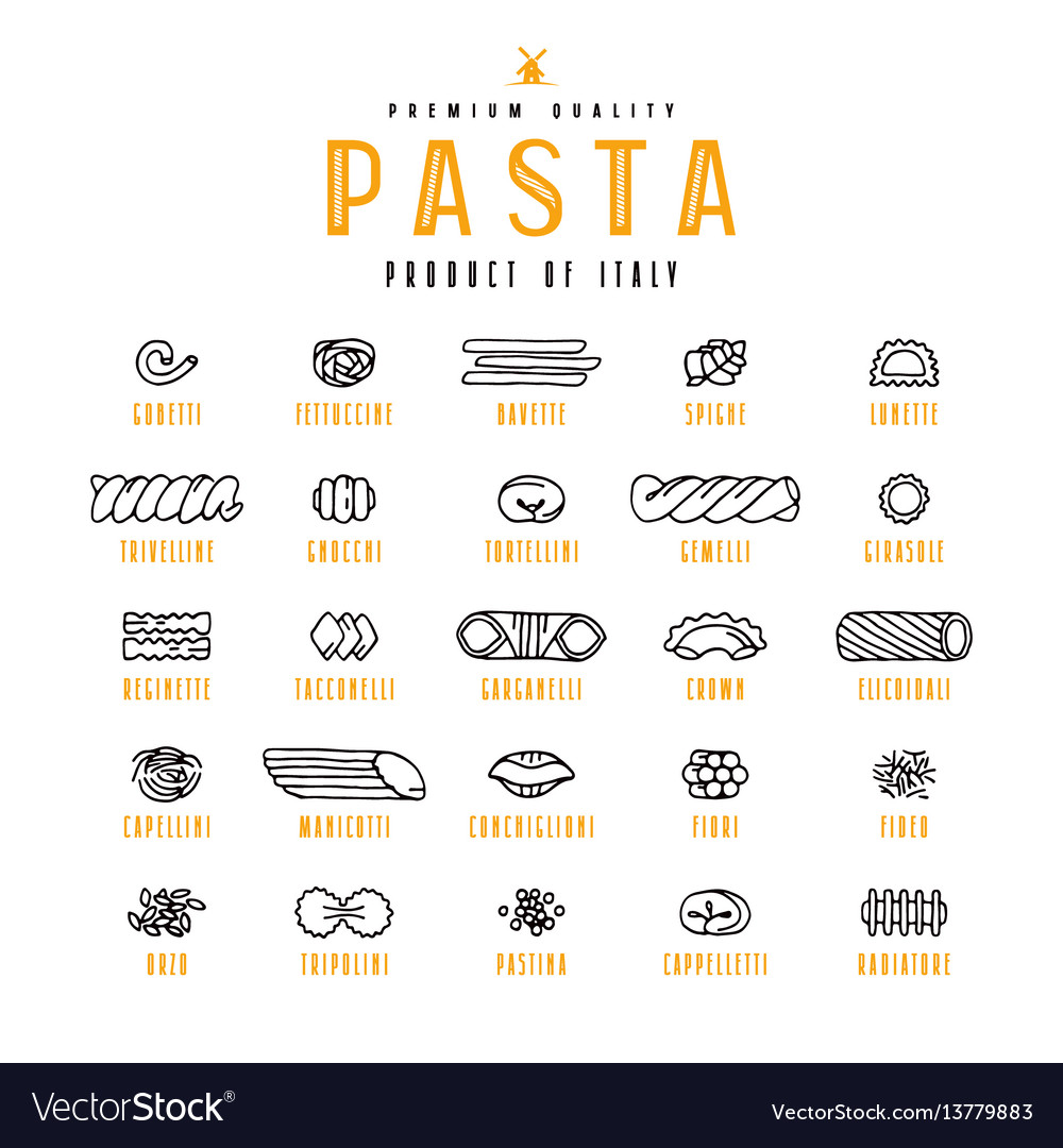 Set of icons varieties of pasta