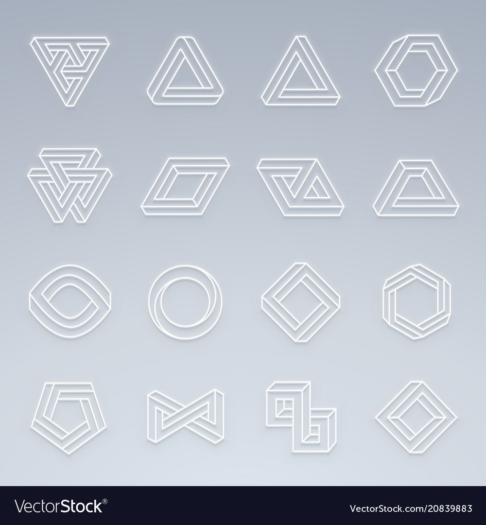 Set of impossible shapes shapes with glow effect
