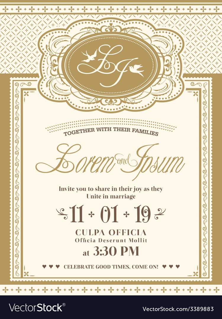 Vintage frame Wedding Invitation card background Vector Image