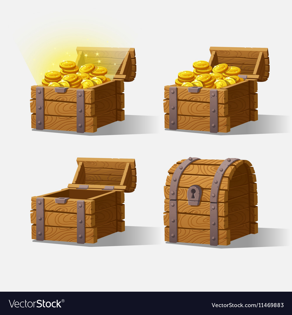 Wooden Chest set for game interface