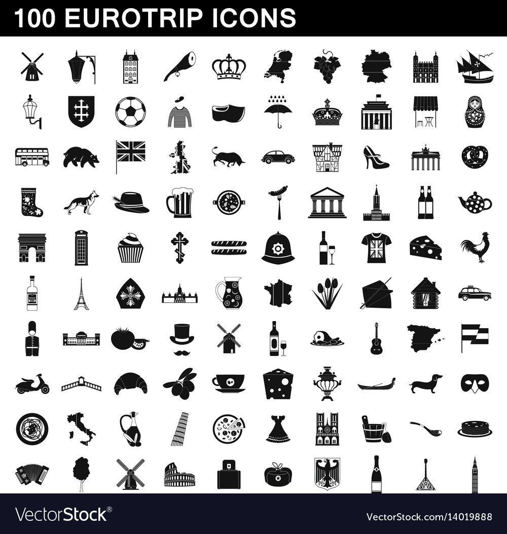 100 eurotrip icons set simple style
