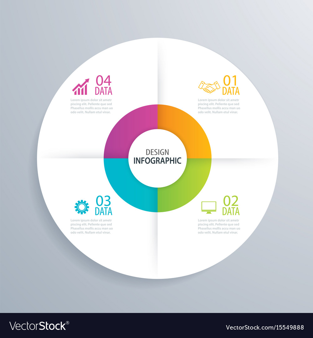 4 business circle infographic background template