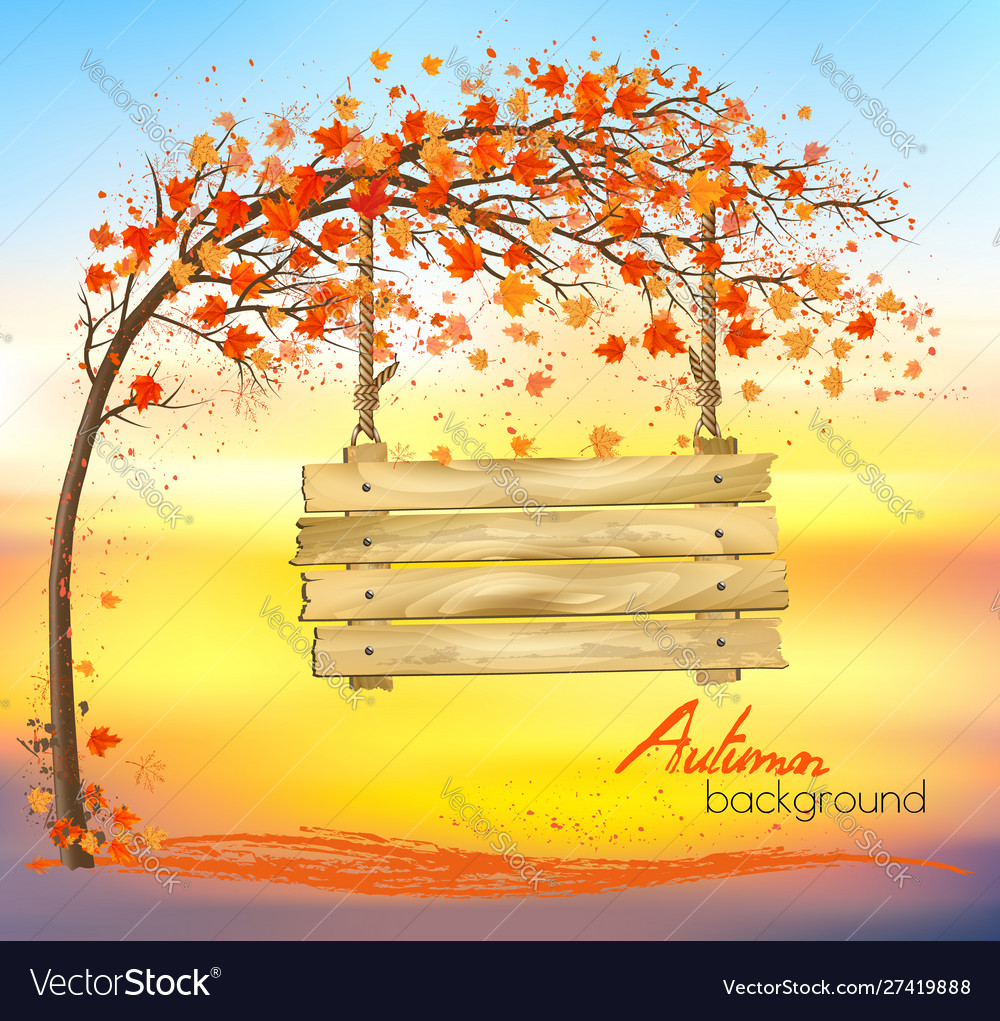 Autumn abstract background with a tree and a