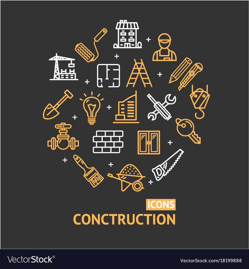 Building construction elements and tools color