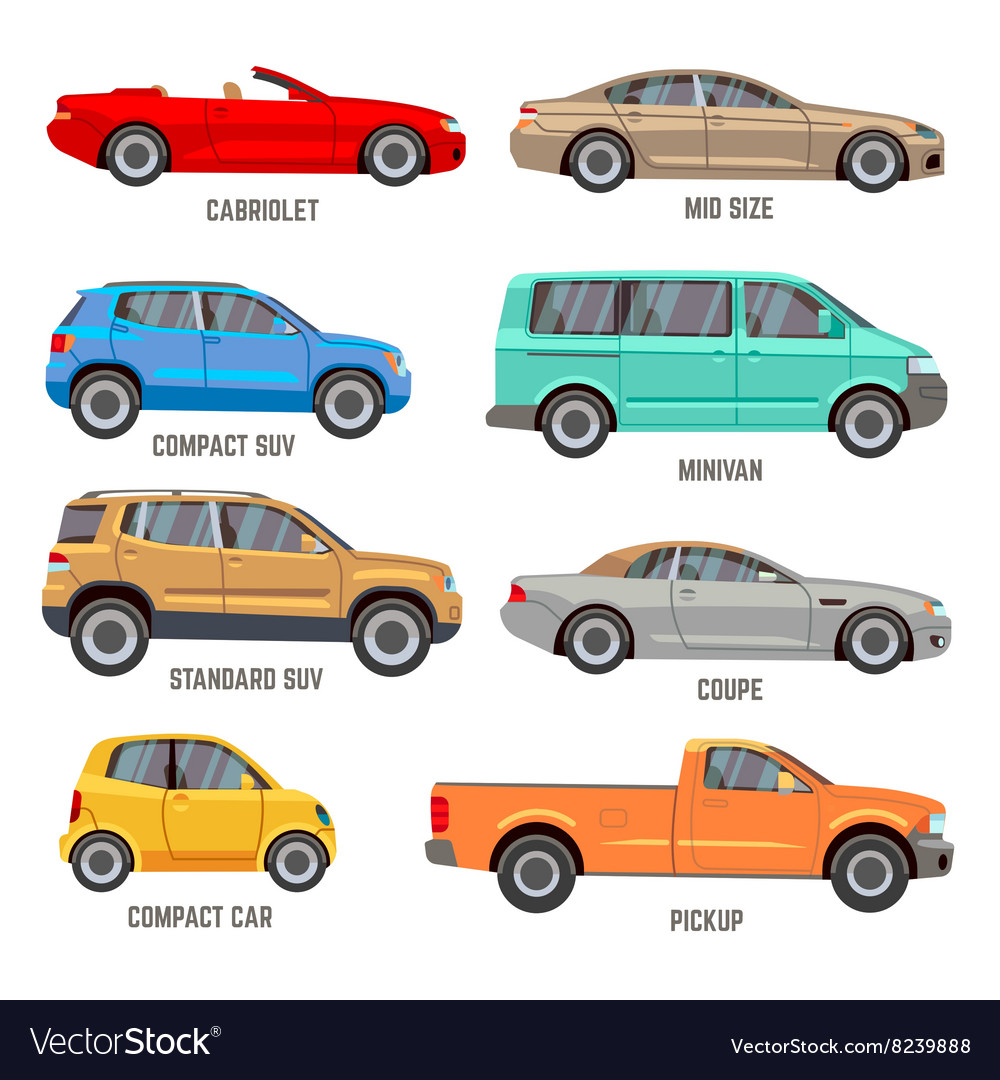 Car types flat icons Royalty Free Vector Image