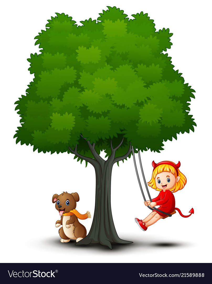 Cartoon Devil Girl And Dog Play Under Tree Vector Image ✓ free for commercial use ✓ high quality images. vectorstock