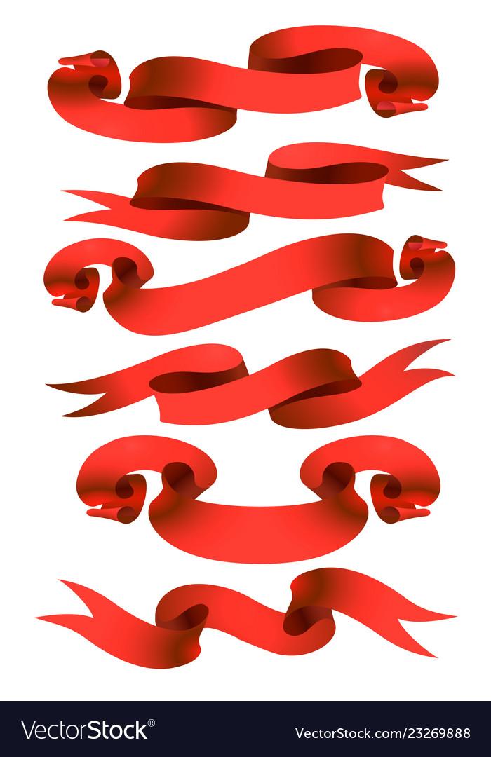 Cartoon red ribbons set