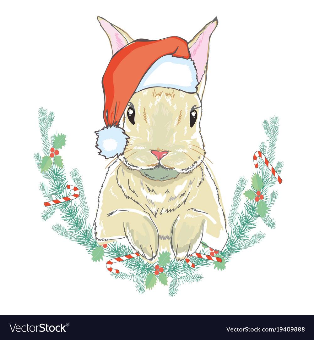 7ad09091dd851 Christmas rabbit in santa hat Royalty Free Vector Image