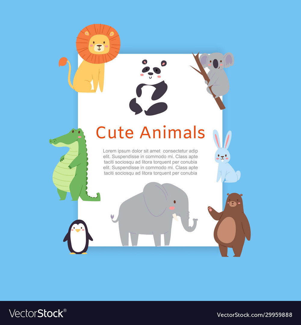 Cute safari and jungle animals lion panda bear vector