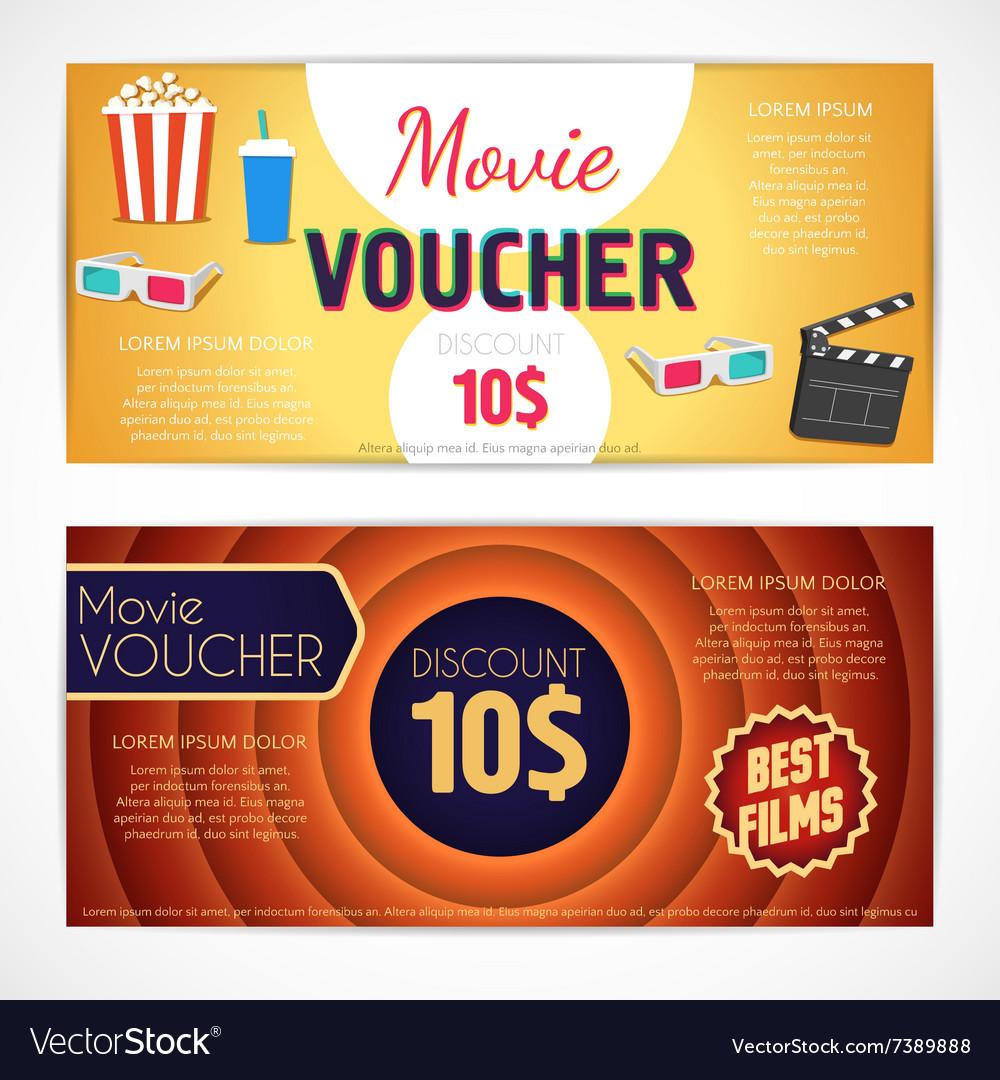 discount voucher movie template cinema gift vector image