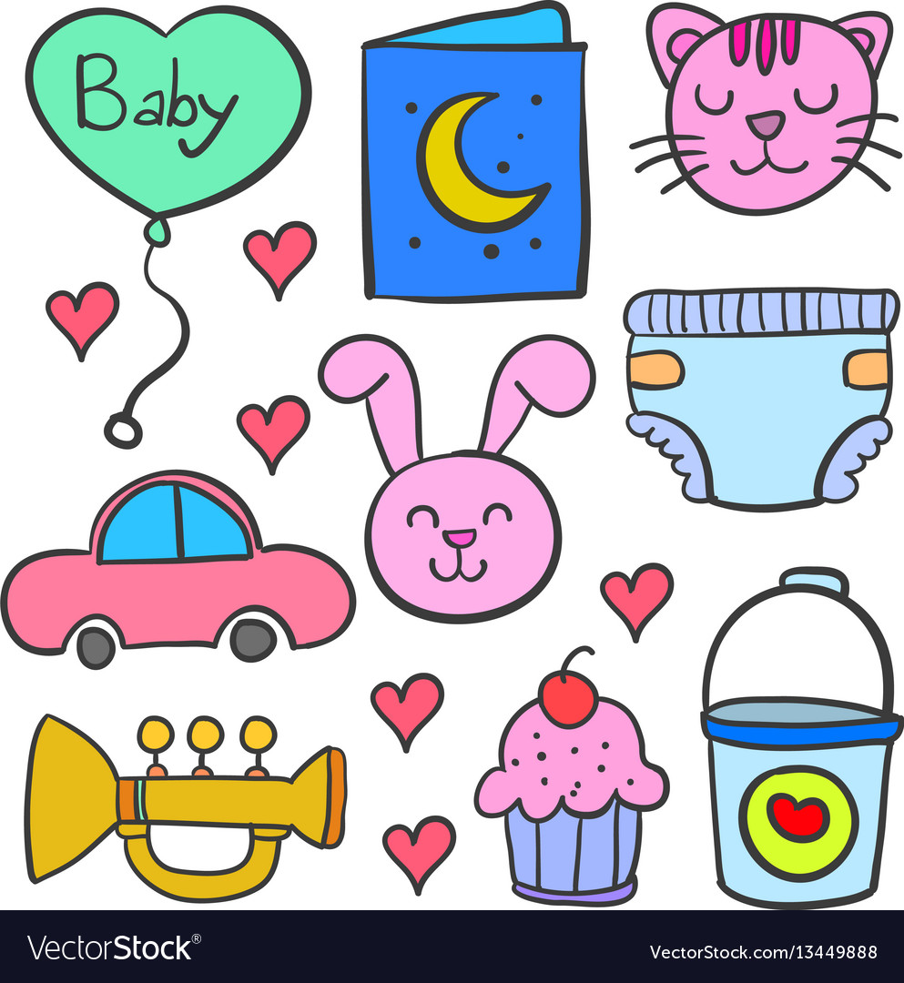 Doodle of element set baby theme vector image