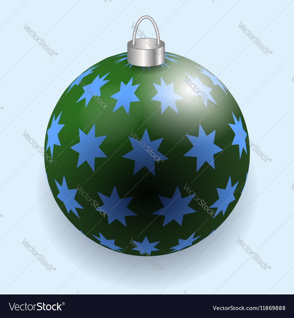 Green and blue stars Christmas ball reflecting