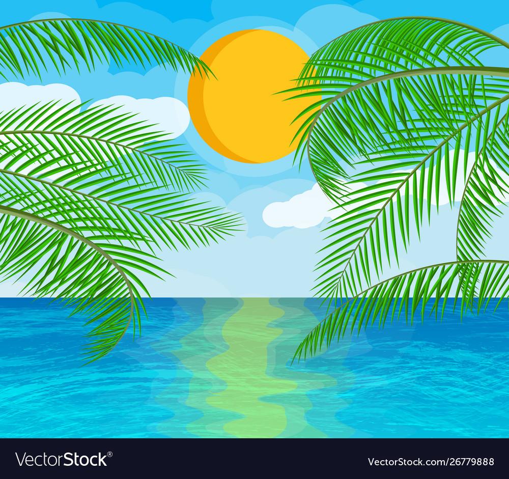 Landscape palm tree on beach