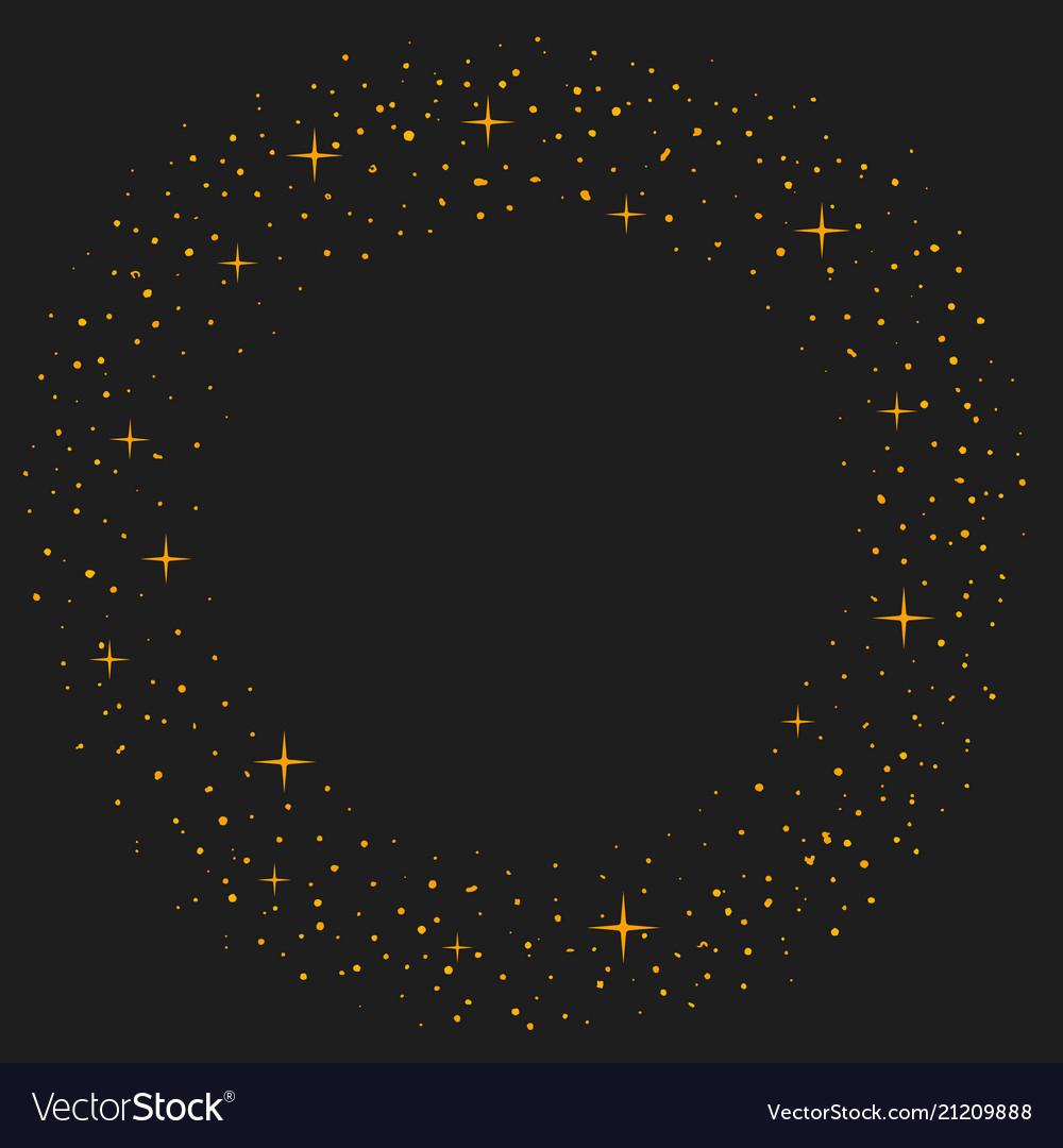 Magic dust circle gold glittering star dust