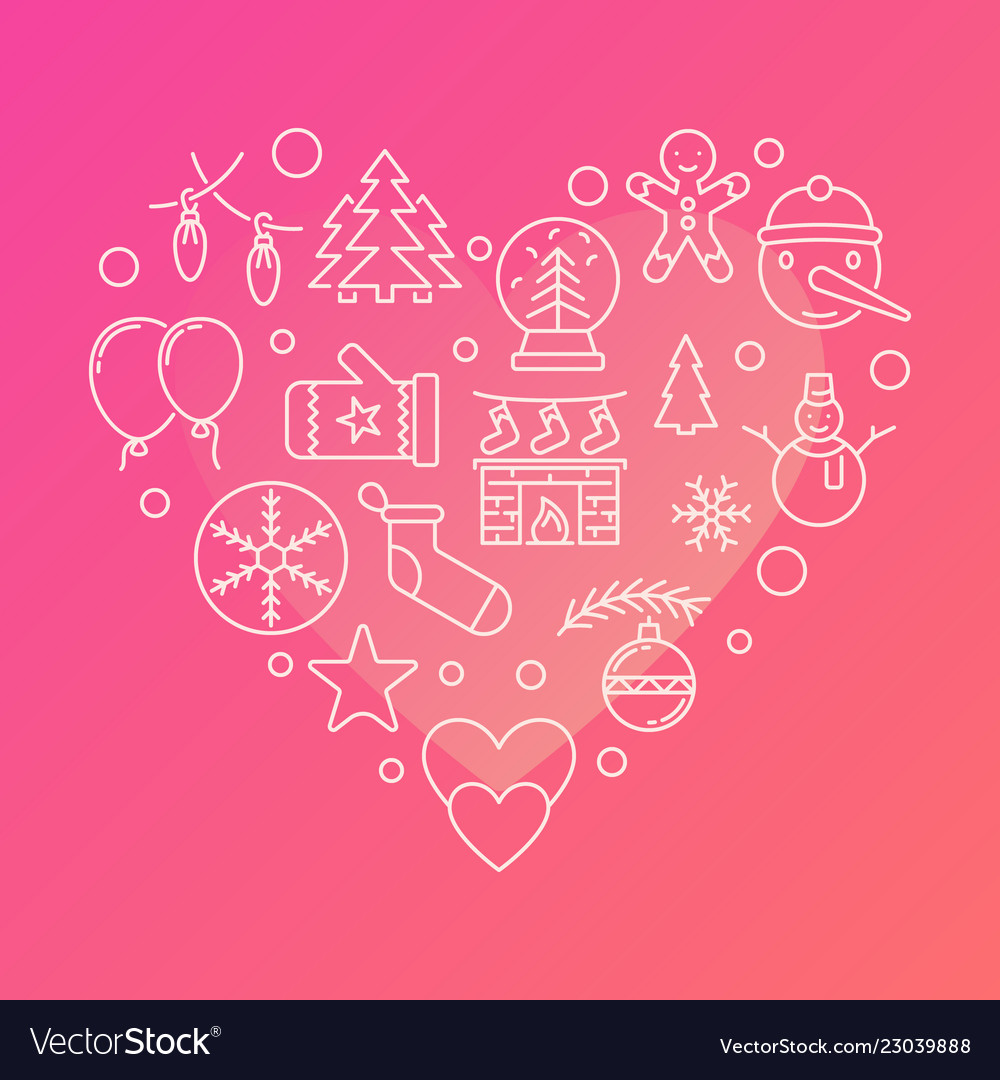 New year line icons in the shape of a heart