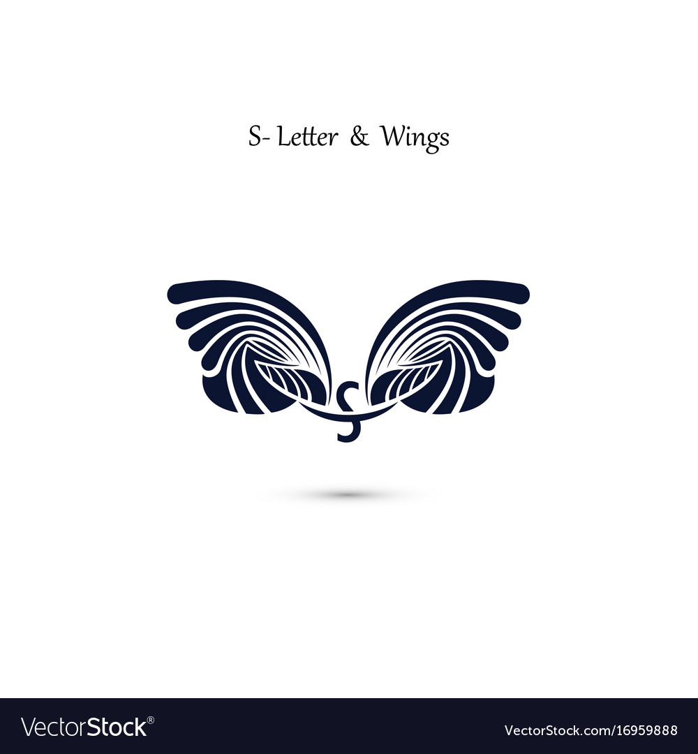 S letter sign and angel wings monogram wing logo
