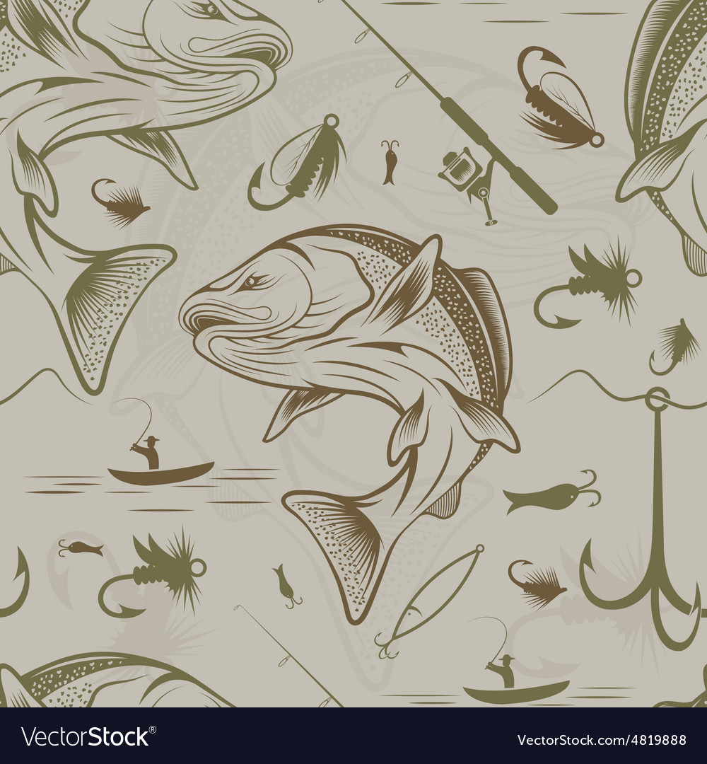 Seamless pattern on the subject of fishing With
